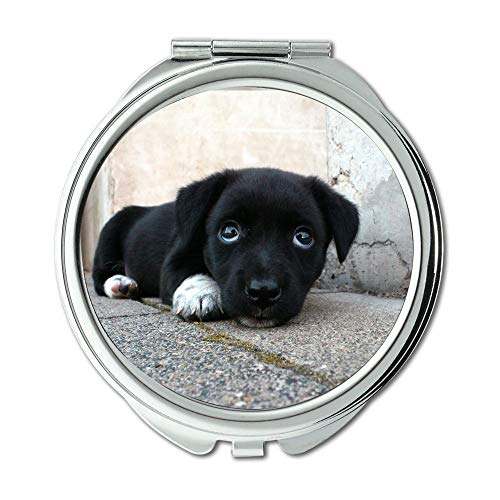 Yanteng Spiegel, Schminkspiegel, Hund Tier müde schläfrig süß Sweet Puppy Schwarz, Taschenspiegel, Tragbare Spiegel