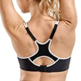 SYROKAN Women's Full Support High Impact Racerback Lightly Lined Underwire Sports Bra Black 36DD