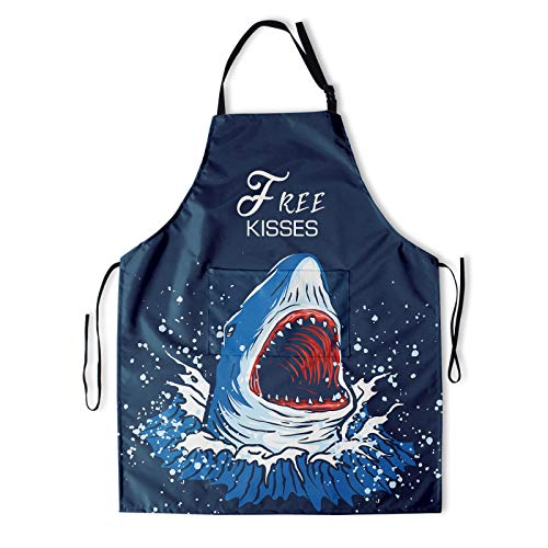 Granbey Shark Apron with 2 Pockets Ocean Biological Aprons with Adjustable Neck Straps Funny Saying Free Kisses Oil-Proof Kitchen Bib Sea Animal Sharks Waterproof Bibs for Women Men Grandma 33x28