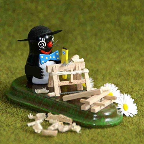 Verzamelfiguur mol timmermann hoogte ca. 7cm NIEUW vierseizoenenfiguur miniatuur Seiffen Ertsgebergte bouw Klempner ambachtslieden bouwplaats bouwmedewerkers