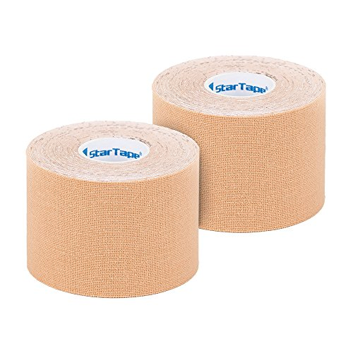 SL StarTape Kinesiologie Verband - Tape Pflaster 5 cm breit und 550 cm lang - Premium Sporttape Rolle - Sport Bandage (Beige, 2er Set)