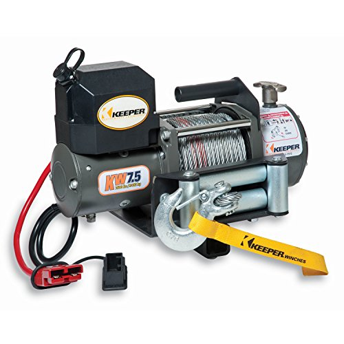 KEEPER KW75122RM-1 12V DC Rapid Mount Portable Winch with Wireless Control - 7500 lbs. Capacity