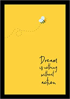 BIRD'S MIND Dream is Nothing Without Action Quotes Motivational Wall Hanging Synthetic Wood Photo Framed Poster Bedroom Li...