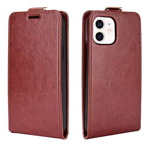 Jacquelyn Funda para teléfono Compatible con iPhone 12 Pro MAX 6.7 Inch, Cubierta abatible Vertical (Color : Brown, Size : iPhone 12 Pro)