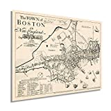 Historix Vintage 1722 Karte von Boston Massachusetts –