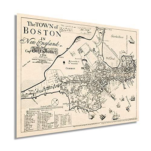 Historix Vintage 1722 Map of Boston Massachusetts - 18 x 24 Inch Vintage Map Wall Art of the Town of Boston in New England - Boston Map Poster - Boston Map Wall Art - Vintage Boston Poster (2 sizes)