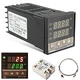 Auveach Regolatore di Temperatura Termostato PID REX-C100 Digitale 110-240 V 220 V AC con Sensore SSR K max.40A