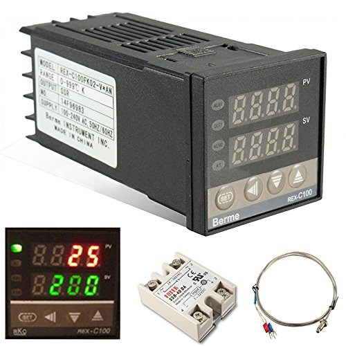 termostato 300 gradi Auveach Regolatore di Temperatura Termostato PID REX-C100 Digitale 110-240 V 220 V AC Sensore SSR K max.40A