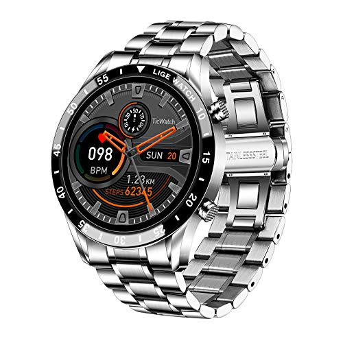 LIGE Smart Watch,1,3 pollici Full Touch screen Bluetooth chiamata,fitness tracker con cardiofrequenzimetro monitoraggio del sonno, pressione sanguigna IP67 impermeabile in acciaio inox per iOS Android