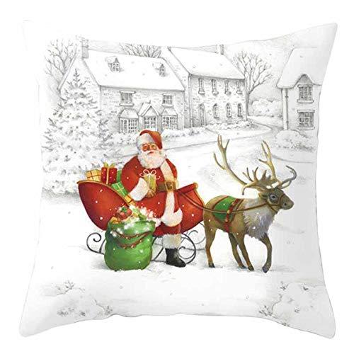 LANJIA Christmas Pillow Covers 18x18Inches Christmas Decorations Happy Decorative Sofa Pillowcase,Super-Soft Short Plush Fabric Cushion Cover Throw Pillow Case Sofa Home Decor