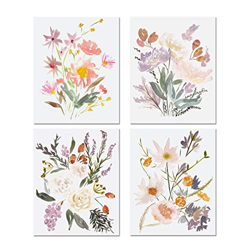 Watercolor Bouquets Wall Art Prints - Set of 4 Watercolor Flowers Wall Poster Painting Gallery Wall Art Wildflowers Wall Decor Pastel Floral Artwork Nursery Art