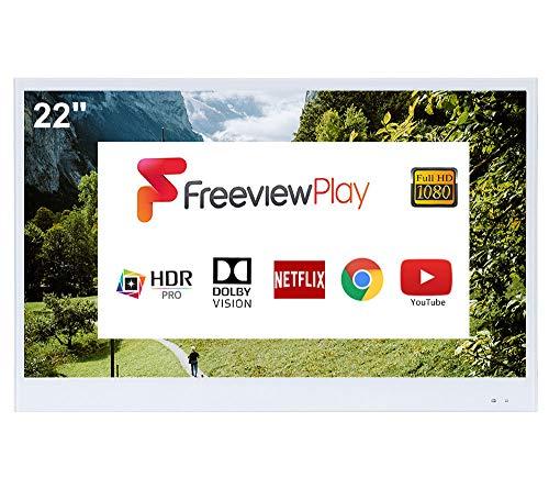 Soulaca Smart Blanco TV de 22 Pulgadas para Baño IP66 a Prueba de Agua con Wi-Fi Integrado