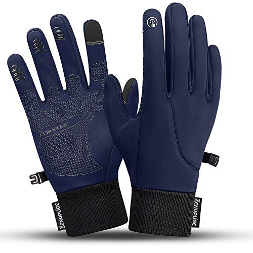 Zenoplige Winter Gloves for Men Women Touch Screen Water Resistant Glove Cold Weather Windproof Warm Workout Running Cycling Training (Blue, M)