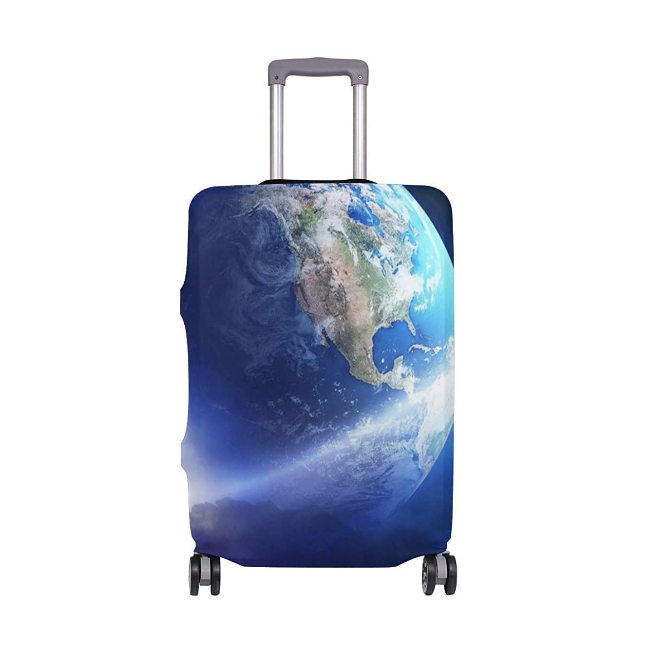 値祝うやけど繊細な印刷では、地球彗星スーツケースプロテクター弾性旅行荷物カバー防雨手荷物カバー