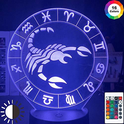 OMCR Illusion 16 Farbe Nachtlicht, LED-Wecker Basis, Sternbild Skorpion, Lampe 16 Farben 3D gedruckt USB Wiederaufladbare LED Nachtlicht Moderne Stehleuchte Dimmbare Touch Control Tischlampe Helligkei