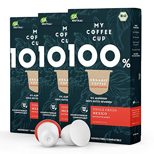 My Coffee Cup – SINGLE ORIGIN MEXICO DECAF – BIO-KAFFEE 3 PACKUNGEN I 30 Kaffeekapseln für Nespresso®³Kapselmaschinen I Industriell kompostierbare Kaffeekapseln – 0% Alu I Nachhaltige Kaffeekapseln