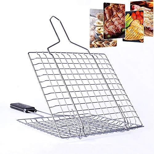FEZBD BBQ grillmand roestvrij staal, grote zware roestvrij stalen grill mand voor groenten - ideaal accessoire, pellet of houtskool BBQ Grill