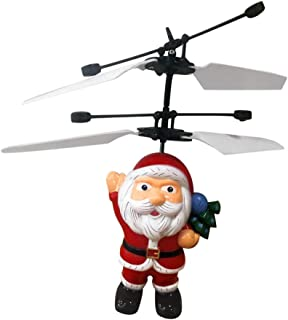 Toysgift Flying Santa Claus Toys - Electric Infrared Sensor Flying Ball Father Christmas Helicopter LED Light Toy Flying Drone Indoor and Outdoor Games Toys for 5 6 7 8 9 10 Year Old Boys and Girls