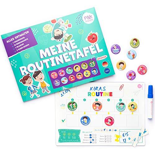 PinkMausi Pizarra de recompensa para niños, magnética y en alemán, incluye 12 imanes con tareas y recompensas, tareas rutinarias, aprendizaje divertido