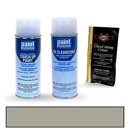 PAINTSCRATCH Touch Up Paint Spray Can Car Scratch Repair Kit - Compatible with Mercedes-Benz C-Class Palladium Silver Metallic (Color Code: 792/9792)