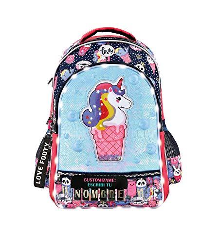 Footy - Mochilas Escolares para Niñas | para Infantil y Preescolar | Varios Compartimentos | Unicornio | Personalizables - Escribe tu Nombre con Letras Incluidas