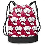 Kaninchen im Hut Macht Kartentricks Drawstring-Rucksack-Sport-Tasche für die Turnhalle, die Reise mit Reißverschluss wandert