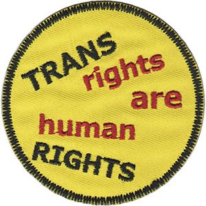 """Trans Rights, LGBTQ Artwork Embroidered Iron On Patches, 3"""" x 3"""" Sew On Patch"""