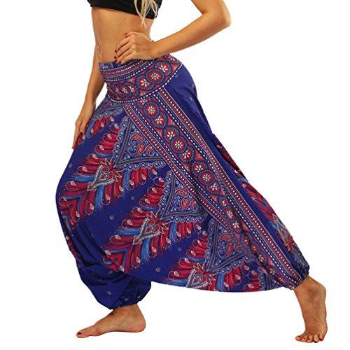 Lvguang Pantalones De Estilo Hippie De Los Mujer De La Vendimia del Estilo Nacional Pantalones Holgados Bombachos Ocasionales del Hippie (Estilo11, One Size)