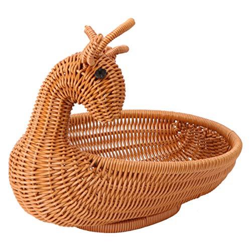 Cabilock Kleine Küche Gewebte Körbe Obst Gewebte Korb Süßigkeiten Snack Aufbewahrungskorb Niedlichen Tierhirsch für zu Hause Essen Brot Geschenk Picknickkorb (Hellbraun 2)