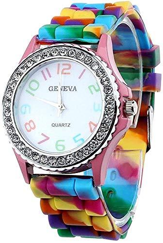 Hinleise Reloj de pulsera analógico de cuarzo digital para mujer
