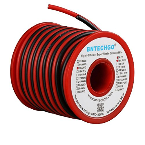 BNTECHGO 16 Gauge Silicone Wire Spool Red and Black Each 25ft 2 Separate Wires Flexible 16 AWG Stranded Copper Wire