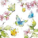 CasaJame Set di 40 (2 Confezioni da 20 Pezzi cad) Tovaglioli in Carta Monouso 3 Strati Veli 33x33cm Multicolore Motivo Farfalle Fiori Ciliegio