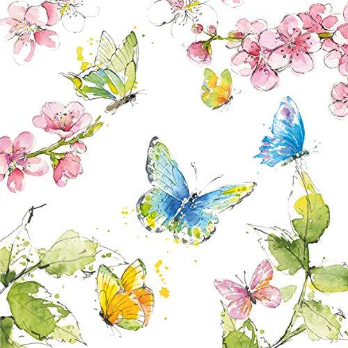 CasaJame Servietten (2er Set / 40Stück) 3-lagig 33x33cm Frühling Schmetterlinge und Kirschblüten