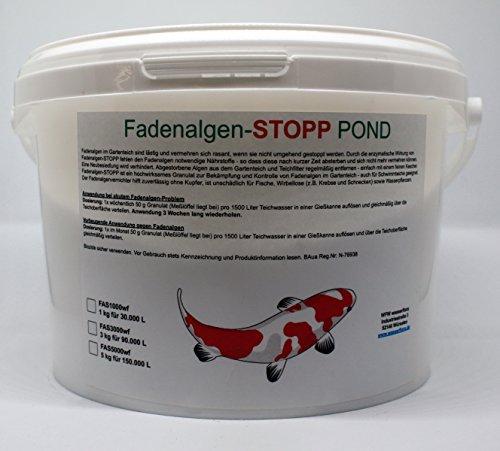 WFW wasserflora 1 kg Fadenalgen-STOPP Pond - Granulat gegen Fadenalgen im Gartenteich, für 30.000 Liter Teich-Wasser