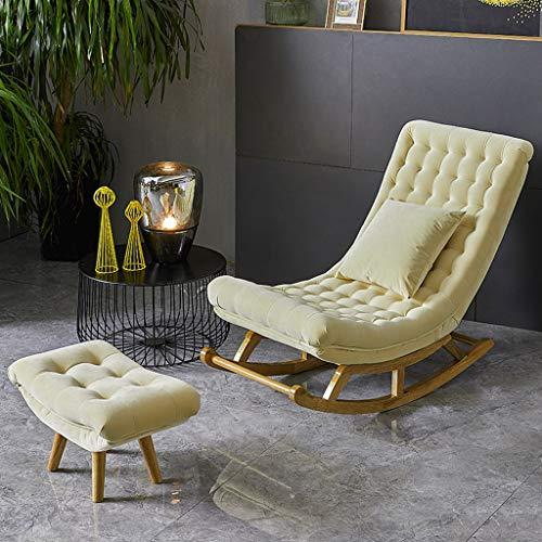 AFEO-Liegen Schaukelstuhl Liegestuhl Nap Liege Esszimmerstuhl der schwangeren Frau Stuhl Lesestuhl Schlafzimmer Wohnzimmer Balkon Terrasse Sonnenliege Freizeit Sofastuhl (Color : Beige)
