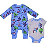Marvel Avengers Coverall and Onesie Set, Sleepwear Bodysuit, Play Romper Bundle for Baby, Size 24M Blue