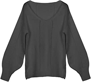 LENXH Women's V-Neck Cutout Sweater Fashion Solid Color Sweater Sexy Long Sleeve Top Casual Elegant Pullover
