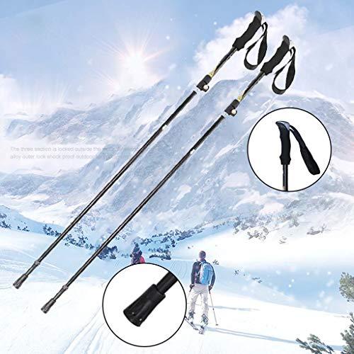 Bastones De Esquí Al Aire Libre Con Mango De Invierno, 5 Nudos, Muleta De MontañIsmo Plegable De Aluminio Para Adultos