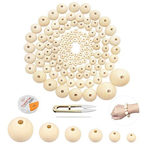 koitoy 316 Stück Holzperlen zum Auffädeln,40 mm/ 30 mm/ 25 mm/ 20 mm/ 16 mm/10mm Natur Runde Gemischte Holzkugeln mit locher groß Perlen für Kinder und Erwachsene Bastelset DIY Schmuck Herstellung