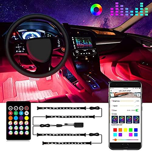 Interior de Luces LED para Coche, Luces Interiores para Coche, sincronización de música, diseño de línea 2 en 1, 48 Kits de iluminación LED para Coche, 16 Millones de Colores (Color: USB)