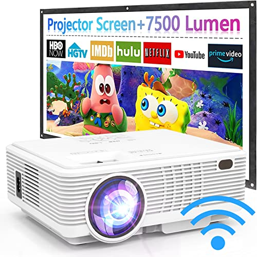 2021 Upgraded, 7500Lux WiFi Projector with 100'' Projector Screen, Projector for Outdoor Movies 1080P Full HD Supported Mini Portable Projector Compatible with Smartphone HDMI USB AV AUX