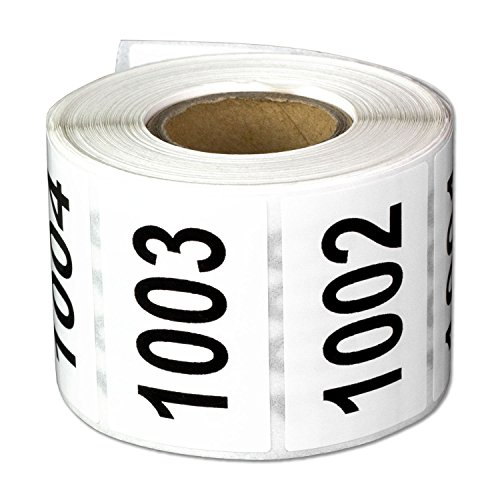 """Consecutive Number Labels Self Adhesive Stickers""""1001 to 1500"""" (White Black / 1.5 x 1 Inch) - 500 Labels Per Pack"""