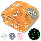 Forestar Halloween Glow in The Dark Blanket, Halloween Unique Gifts for Kids Boys Girls and Grandkids, Orange Pumpkin Blanket, Premium Super Soft Fuzzy Fluffy Furry Fleece Throw Blanket (50' x 60')