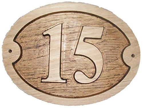 Nummer 15Oval Eiche natur Holz House Tür Zahl 20,3x 15,2cm stark geprägt Gravur Natürliche Holz Oberfläche Schild Haus Erwärmung Geschenk (200x 150mm) Nr. 1515rund