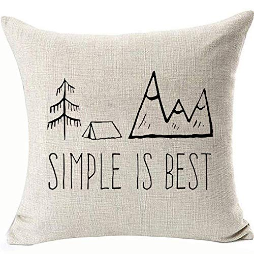 Simple is Best Travel Camping Cabin Pillows Covers Beach Cabin Cottage Outdoor Decor Throw Pillowcases for Home Couch Sofa Two Side Color 18x18inch Removable Two Side Color:Simple is Best