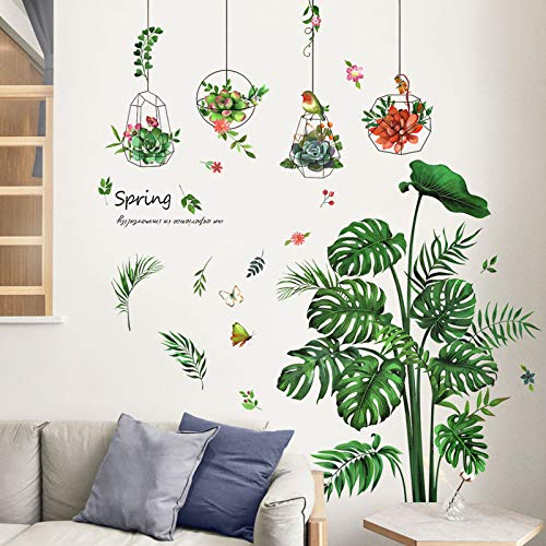 DIY Wandtattoo Pflanze Tropische Verlässt Wandsticker, TANOSAN Grüne Pflanze Blätter Schildkrötenblatt Wandsticker Wanddeko für Wohnzimmer Schlafzimmer Flur Kühlschrank (Grün)