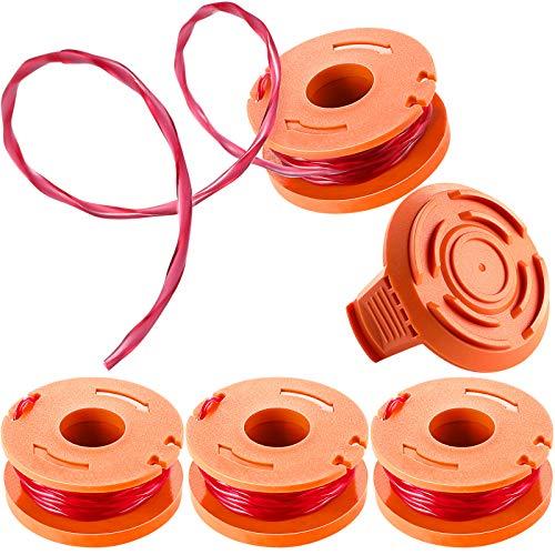 Trimmer Linie Trimmer Ersatz Spule Faden und Trimmer Spulenkappe Rasenmäher Spulenkappe, Kompatibel mit Worx WG180 WG163 WA0010 (5)