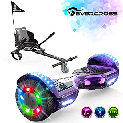 """EverCross Hoverboard, 6.5"""" Two-Wheel Self Balancing Hoverboard with Seat Attachment, Electric Hoverboard Scooter with Seat & Bluetooth & Colorful LED Light, Hoverboards for Kids and Adults"""