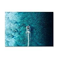 スカンジナビアスピードボートサーフィンポスター緑の海景シーンの写真プリントキャンバス壁アート絵画家の装飾(70x105cm)フレームレス