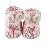 Stephan Baby Knit Animal Face Foot Finder Bootie Socks, Pink Bunnies